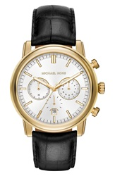 Michael Michael Kors 'Pennant' Chronograph Leather Strap Watch 43Mm Black Gold Silver