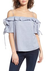 Wayf Women's Rory Off The Shoulder Top Chambray