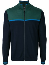 Paul Smith Ps By Colour Block Cardigan Blue