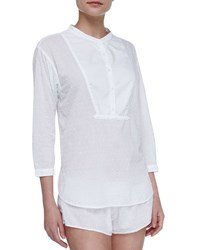 Xirena Ashley Swiss Dot Tuxedo Sleep Shirt White