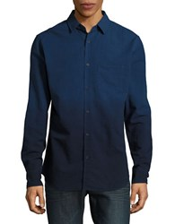 Sovereign Code Capitola Solid Cotton Casual Button Down Shirt Blue