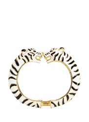 Kenneth Jay Lane Enamel Double White Tiger Gold Plated Cuff Multi Colour