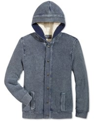American Rag Men's Chunky Knit Hooded Cardigan With Faux Sherpa Lining Only At Macy's Basic Navy