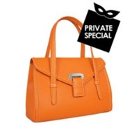 Buti Orange Embossed Leather Satchel Bag