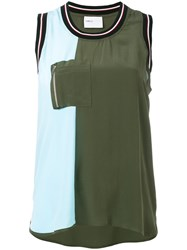 Isabelle Blanche Zip Pocket Tank Top Women Silk L Green
