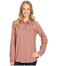 Royal Robbins Performance Flannel Plaid Long Sleeve Ruby Women's Long Sleeve Button Up Red