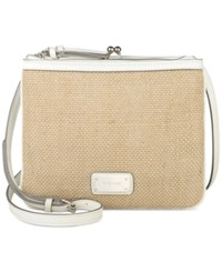 Nine West Jaya Crossbody Metallic Straw Snow Petal