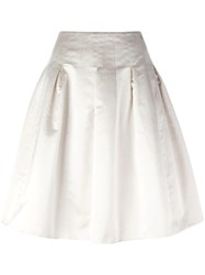 Chanel Vintage Pleated A Line Skirt White