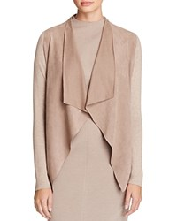 T Tahari Milly Perforated Faux Suede Front Cardigan Taupe Melange