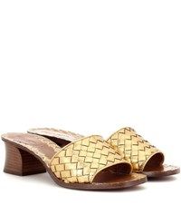 Bottega Veneta Intrecciato Metallic Leather Sandals Gold