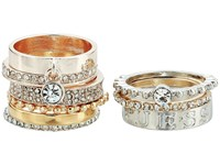 Guess Nine Piece Band Stacker Set Ring Silver Gold Rose Gold Crystal Ring Multi
