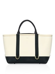 Sacai Hybrid Large Colorblock Leather Tote Ivory Multi