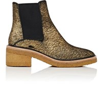 Dries Van Noten Women's Crepe Sole Calf Hair Chelsea Boots Gold