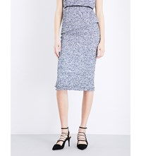Roland Mouret Norley Boucle Cotton Blend Skirt Navy