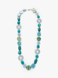 One Button Beaded Long Statement Necklace Powder Blue Turquoise