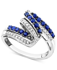 Macy's Sterling Silver Ring Sapphire 5 8 Ct. T.W. And Diamond 1 7 Ct. T.W.