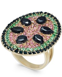 Inc International Concepts I.N.C. Gold Tone Stone And Crystal Pave Watermelon Statement Ring Gold Multi