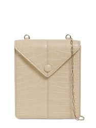 Nanushka Tove Croc Embossed Faux Leather Bag Creme