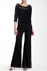 Hip Crochet Bell Bottom Pant Black