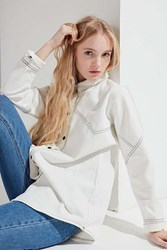 Urban Outfitters Uo Contrast Stitch Button Down Denim Shirt Ivory