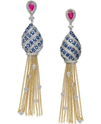 Macy's Sapphire 5 Ct. T.W. Ruby 1 Ct. T.W. And Diamond 1 1 2 Ct. T.W. Tassel Drop Earrings In 14K White And Yellow Gold