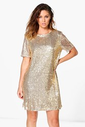 Boohoo Lacey Sequin T Shirt Dress Gold