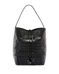 Nancy Gonzalez Medium Crocodile Bucket Bag W Rings Black