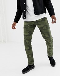 Abercrombie And Fitch Camo Print Cargo Trousers Slim Fit In Green