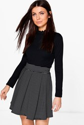 Boohoo Pinstripe Mono Box Pleat Skater Skirt Black