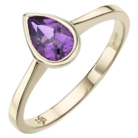 A B Davis 9Ct Yellow Gold Pearshaped Rubover Semi Precious Ring Amethyst