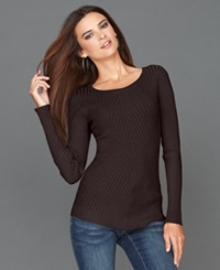 Inc International Concepts Sweater Long Sleeve Crew Neck Ribbed Knit