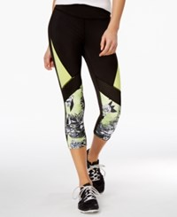 Jessica Simpson The Warm Up Juniors' Colorblocked Mesh Inset Cropped Leggings Black Cucumber