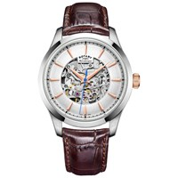 Rotary Gs05032 06 Men's Mecanique Skeleton Leather Strap Watch Brown Silver