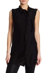 David Lerner Sleeveless Silk Shirt Dress Black