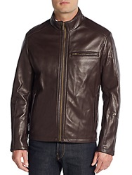 Cole Haan Leather Bomber Jacket Black