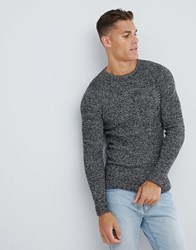 Selected Homme Knitted Jumper In Twisted Yarn Cotton Black Egret