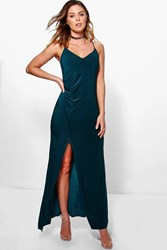 Boohoo Slinky Strappy Ruched Maxi Dress Teal