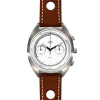 Mhd Watches Mhdcr1 Chronograph Watch With White Dial Brown Strap Black White Grey