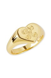 Argentovivo Women's Argento Vivo Initial Heart Signet Ring Gold R