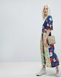 Trollied Dolly Boho Pleated Midi Dress In Mix And Match Floral Print Navy Blue