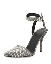 Alexander Wang Lovisa Snakeskin Ankle Wrap Pump Black White