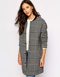 Pull And Bear Pullandbear Dogtooth Collarless Coat Whiteblack