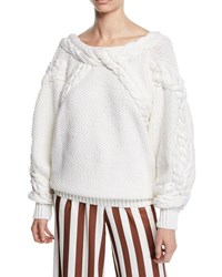 Oscar De La Renta Boat Neck Low Back Cable Knit Merino Wool Sweater Ivory