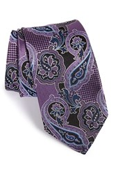 Men's J.Z. Richards Paisley Woven Silk Tie Purple