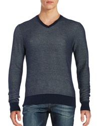 Michael Kors Textured V Neck Sweater Midnight