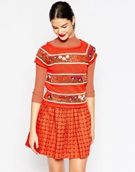 Manoush Knitted Short Sleeve Top Bouquet Rouge
