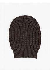 Rick Owens Grey Oversized Wide Rib Knitted Hat