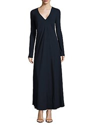 Roberto Cavalli Solid V Neck Fit And Flare Dress Blue