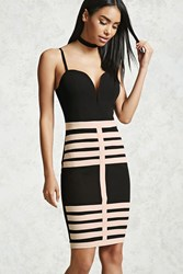 Forever 21 Contrast Caged Mini Dress Black Taupe