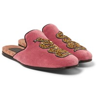 Gucci Embellished Velvet Backless Loafers Pink
